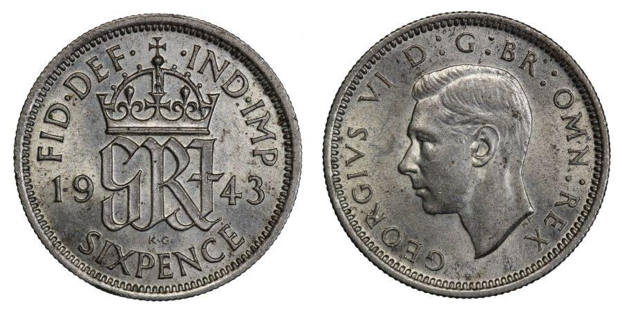 1943 Sixpence, aUNC, George VI, ESC 1833