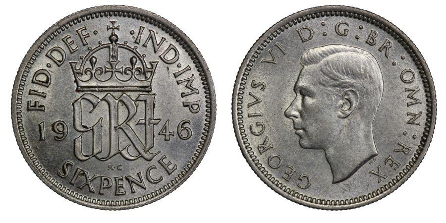 1946 Sixpence, EF, George VI, ESC 1836