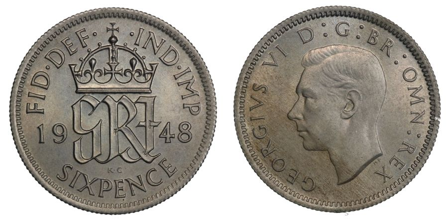 1948 Sixpence, Choice UNC, George VI, ESC 1838