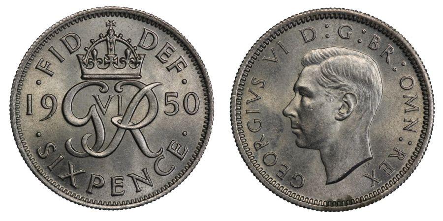 1950 Sixpence, UNC, George VI, ESC 1838 B