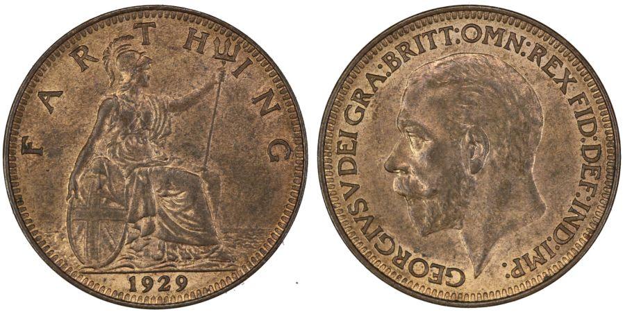 1929 Farthing, aUNC, George V, Freeman 611