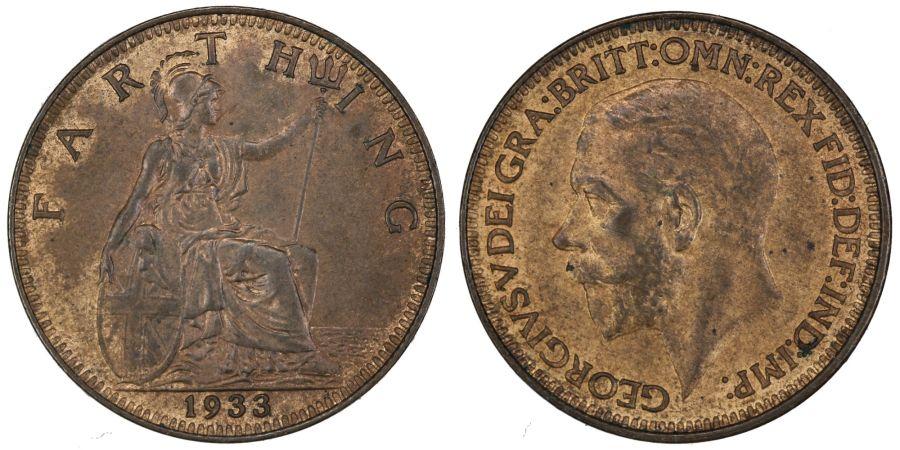 1933 Farthing, aUNC, George V, Freeman 619