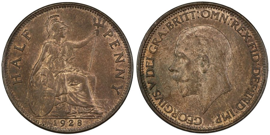 1928 Halfpenny, UNC patchy toning, George V, Fr. 410