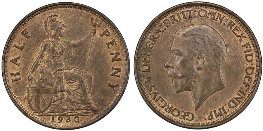 1930 Halfpenny, aUNC/UNc, George V, Fr. 414