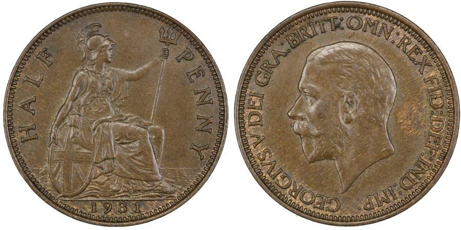 1931 Halfpenny, EF, George V, Fr. 416