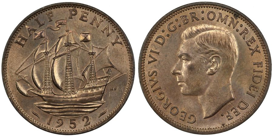 1952 Halfpenny, Choice UNC, George VI, Fr. 461