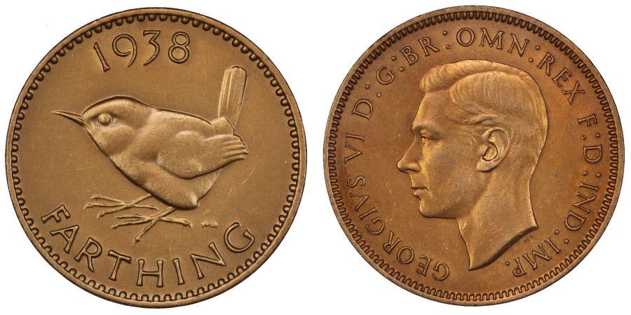 1938 farthing, UNC, George VI, Fr. 630