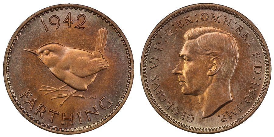 1942 Farthing, UNC, George Vi, Fr. 638
