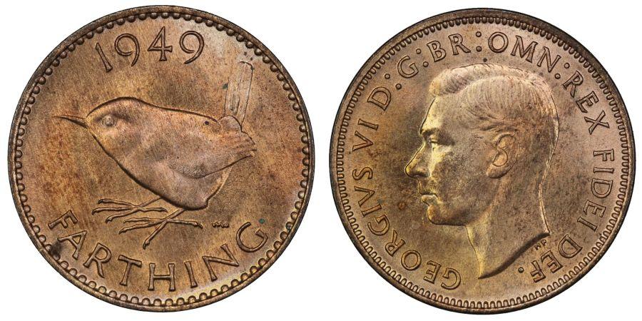 1949 Farthing, BU, George VI, Fr. 652