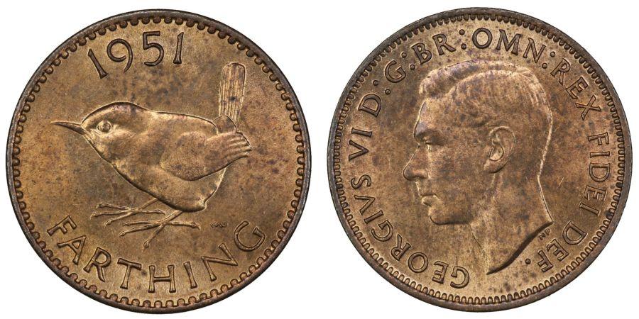 1951 Farthing, UNC, George VI, Fr.656