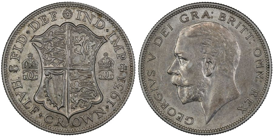 1931 Halfcrown, EF or better, George V, ESC 780
