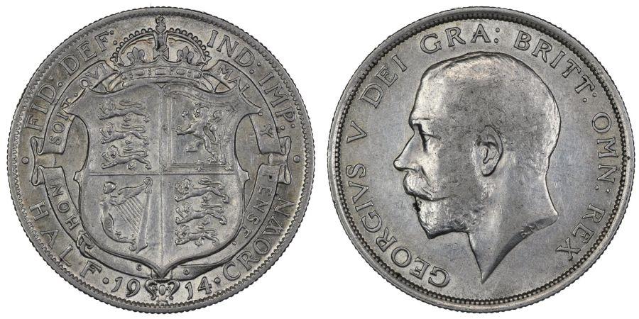 1914 Halfcrown, nEF/nVF, George V, ESC 761