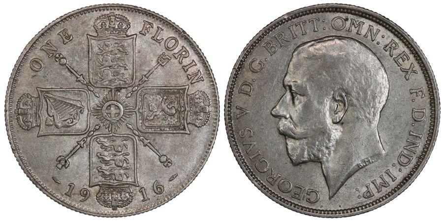 1916 Florin, EF, George V, ESC 935