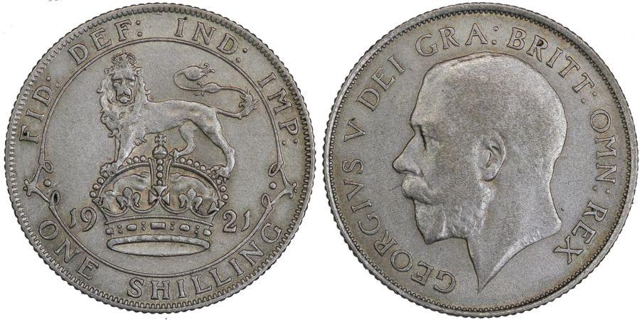 1921 Shilling, EF, Dies 5E, DAvies 1808