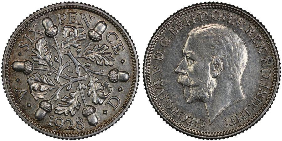 1928 Sixpence, aUNC, George V, ESC 1817