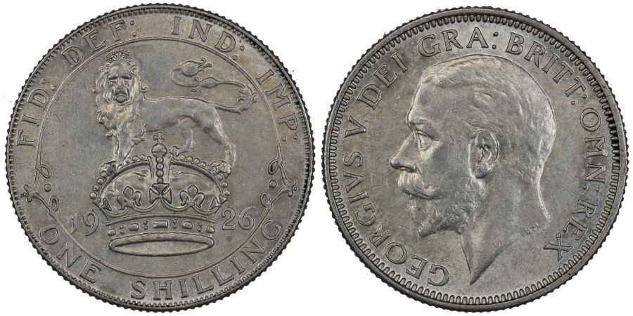 1926 Shilling, gEF, Modified effigy, George V