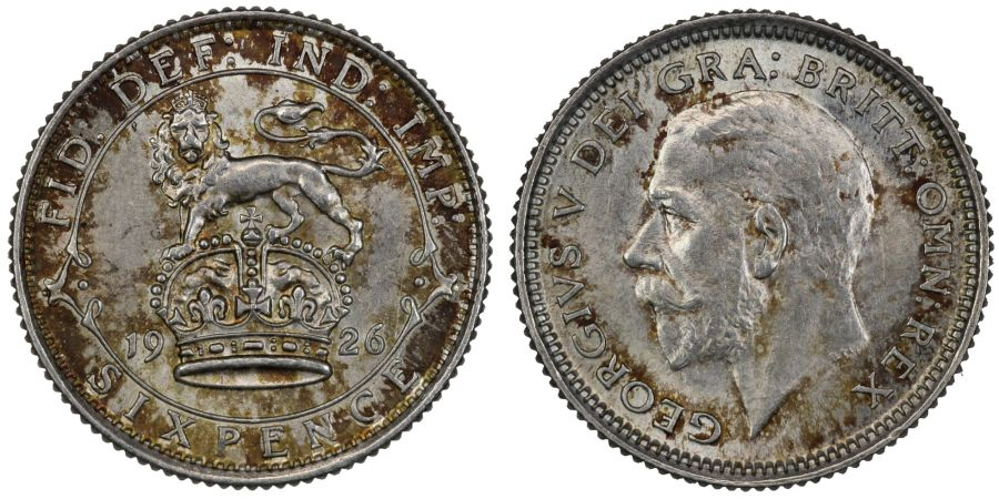 1926 Sixpence, gEF or better, Modified effigy, Davies 1882, beautiful toning