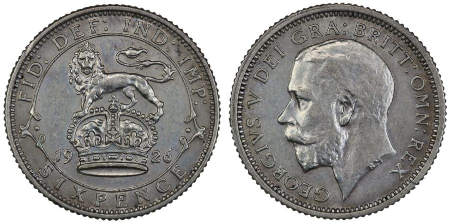 1926 Sixpence, 1st obverse, EF, George V, Davies 1813