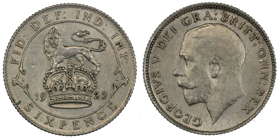 1922 Sixpence, gEF, George V, Davies 1875