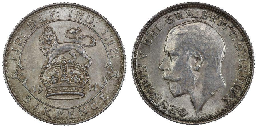 1911 Sixpence, EF, George V, ESC 1795, Ex Spink & son 1990