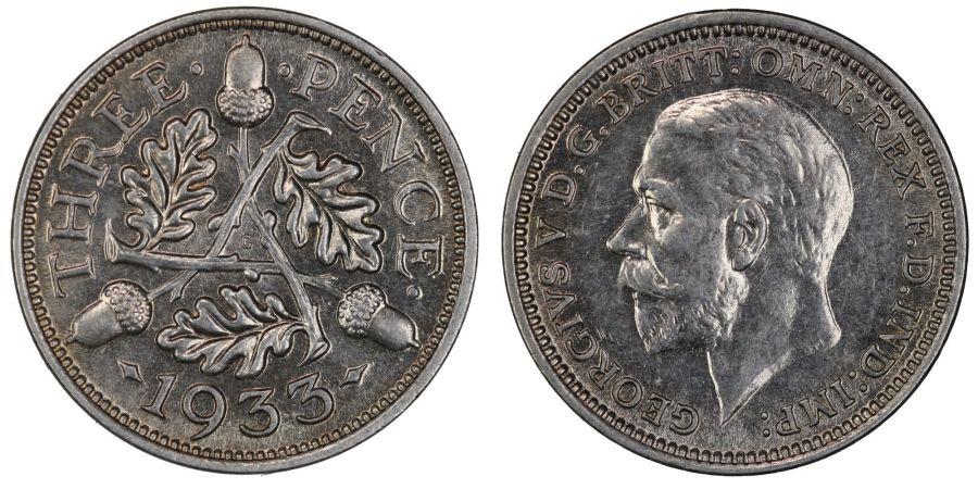 1933 Threepence, UNC, George V, ESC 2146