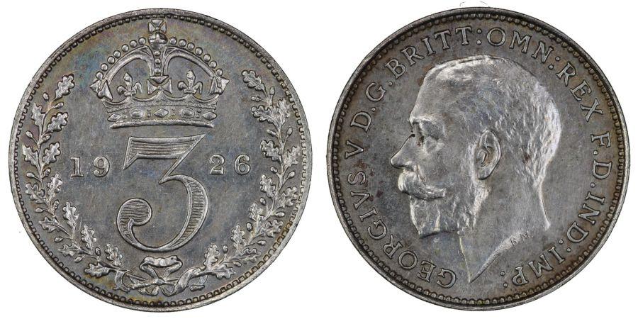 1926 Threepence, 1st obverse, UNC, George V, ESC 2139
