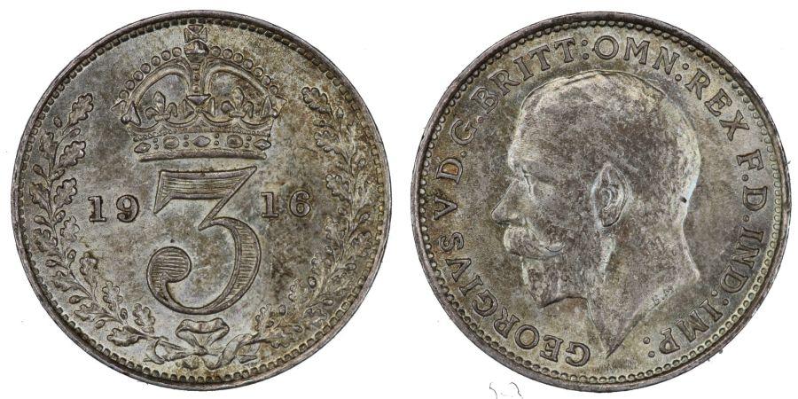 1916 Threepence, gEF, GEorge V, Ex Spink, ESC 2130