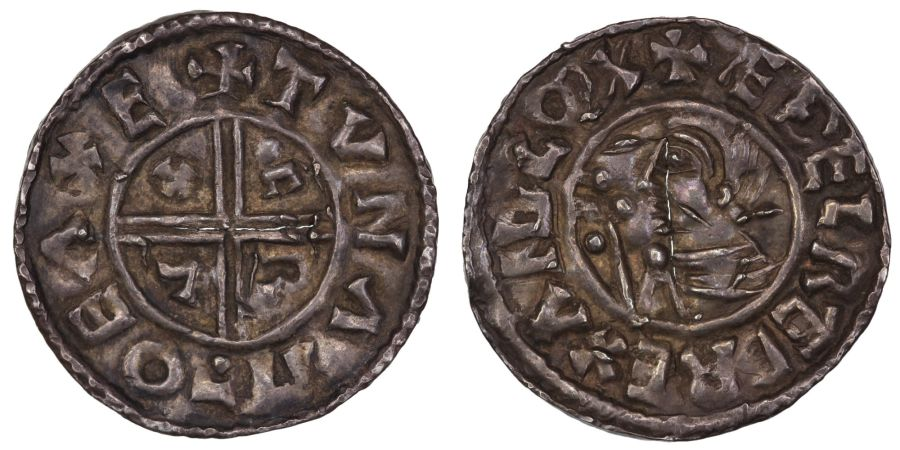 (c. 978- 1016AD) Athelred II penny, CRUX type, +TUNA MO EAXE –Tuna moneyer of Exeter mint, pellet to the left of the sceptre, very fine and toned, cracked in centre, Brettell 107 (this coin), Spink 1148, North 770, BEH 588