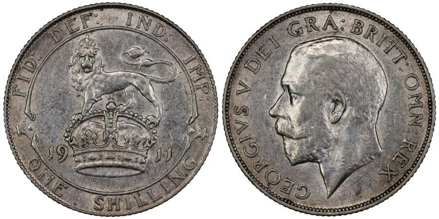 1911 Shilling, nEF, George V, ESC 1420, Bull 3799