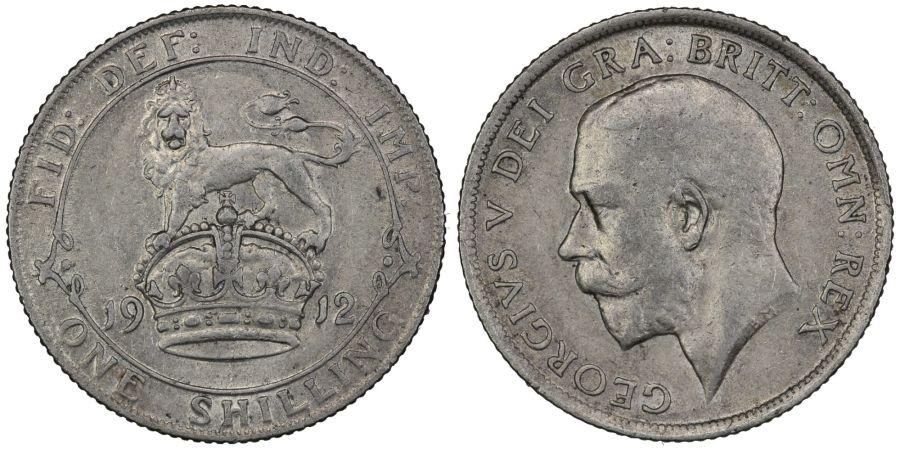 1912 Shilling, George V, gVF, Bull 3801, ESC 1422