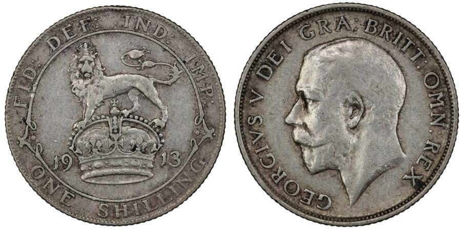 1913 Shilling, George V, gF/nVF, Bull 3802, ESC 1423