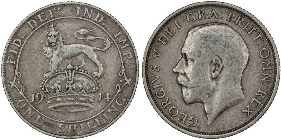 1914 Shilling, George V, gFine, ESC 1424, Bull 3803