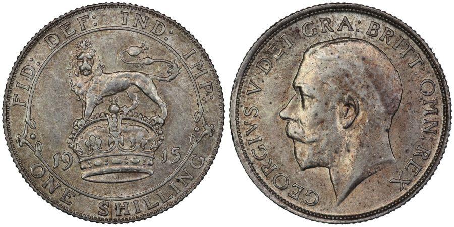 1915 Shilling, aUNC/gEF, George V, ESC 1425, Bull 3804