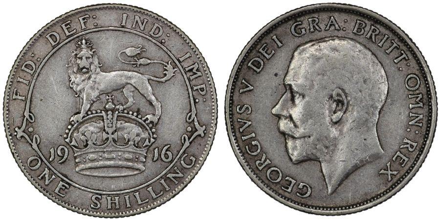 1916 Shilling, George V, gFine, ESC 1426, Bull 3805