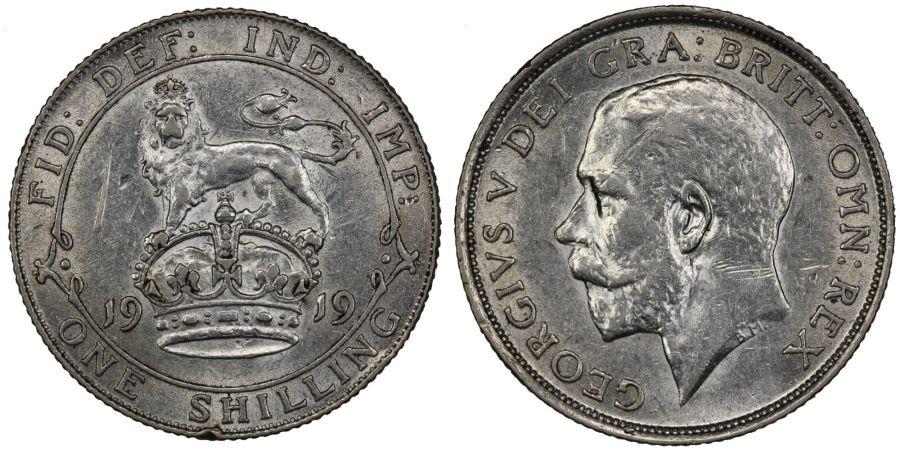 1919 Shilling, George V, nEF scratched, ESC 1429, Bull 3808