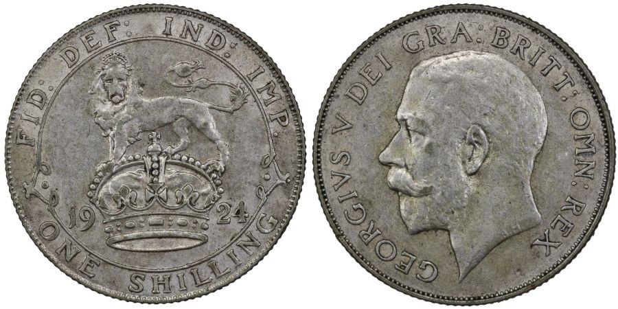 1924 Shilling, gVF, George V, ESC 1434, Bull 3820, Rated R (rare)