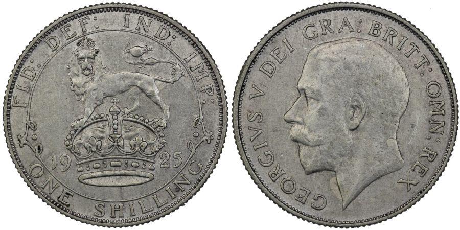 1925 Shilling, nEF, George V, ESC 1435, Bull 3823, Rare