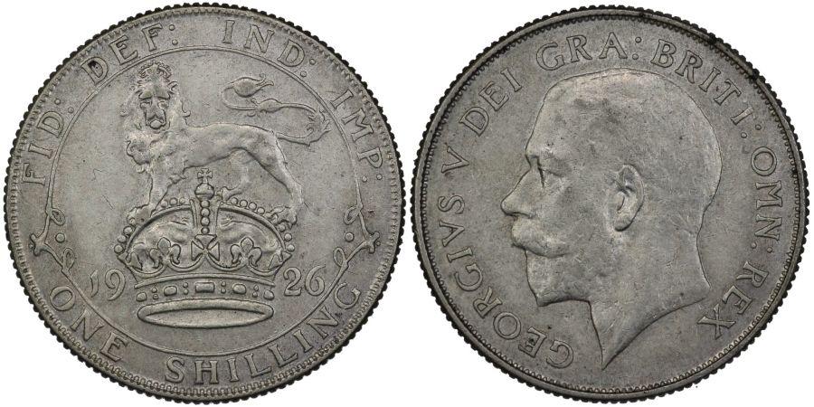 1926 Shilling, nEF, George V, ESC 1436, Bull 3825, Scarce