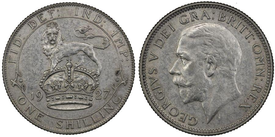 1927 shilling, EF, George V, 1st type, ESC 1438, Bull 3828, Scarce