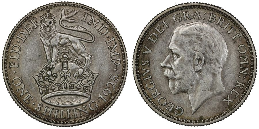 1928 Shilling, gVF, George V, Bull 3832, ESC 1441