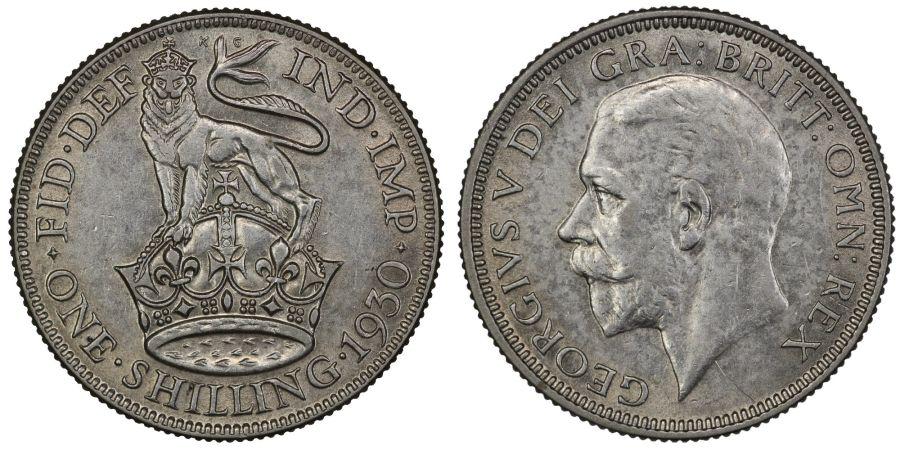 1930 Shilling, nEF, George V, ESC 1443, Bull 3837, Rare