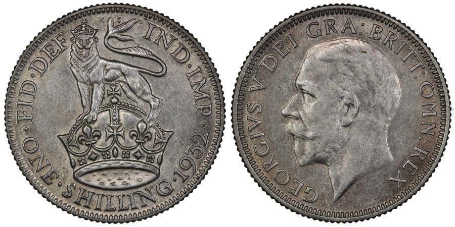 1932 Shilling, EF, George V, ESC 1445, Bull 3842