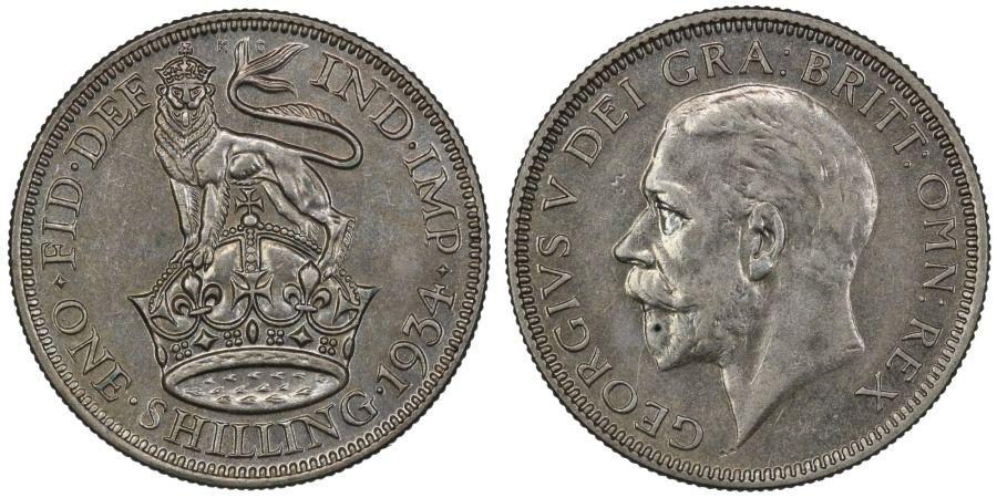 1934 Shilling, EF, George V, ESC 1447, Bull 3847