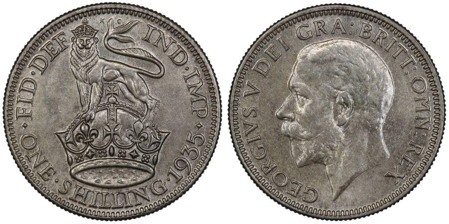 1935 Shilling, UNC, George V, ESC 1448, Bull 3850