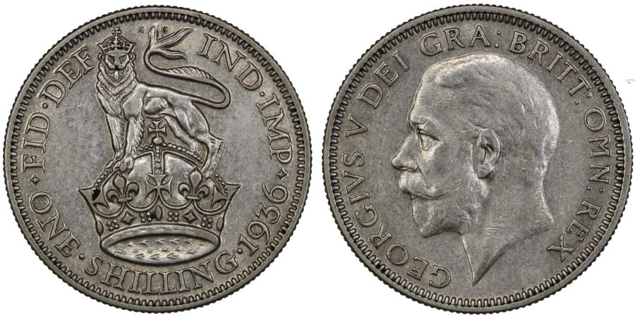 1936 Shilling, nEF, George V, ESC 1449, Bull 3835