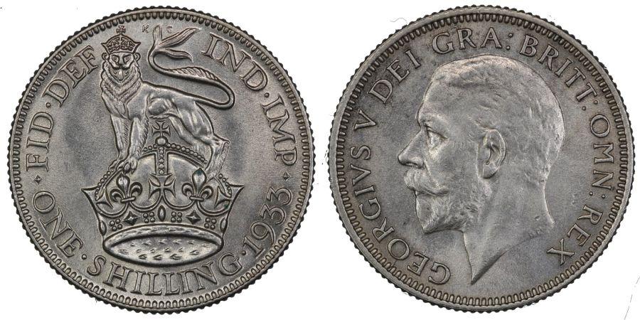 1933 Shilling, aUNC/UNC, George V, ESC 1446, Bull 3845