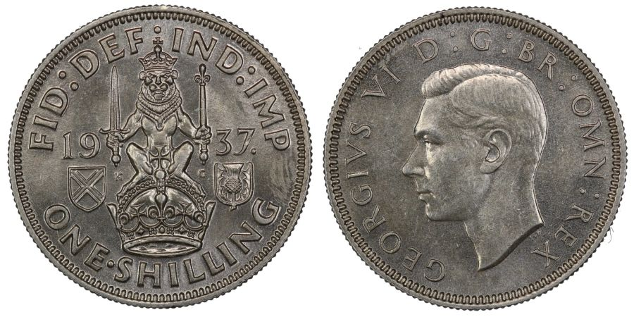 1937 'Scottish' Shilling, George VI, BU, ESC 1452, Bull 4149