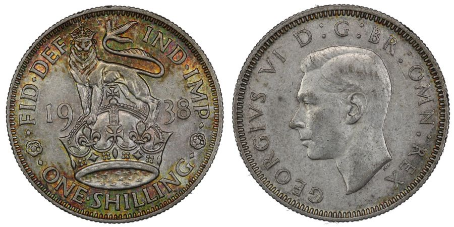 1938 'English' Shilling, attractive toning, George VI, ESC 1450 ,Bull 4120