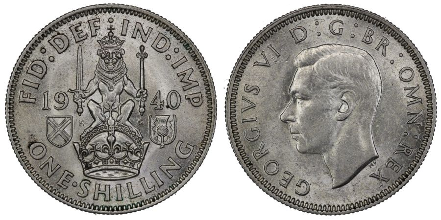 1940 'Scottish' Shilling, George VI, UNC, ESC 1459, Bull 4159