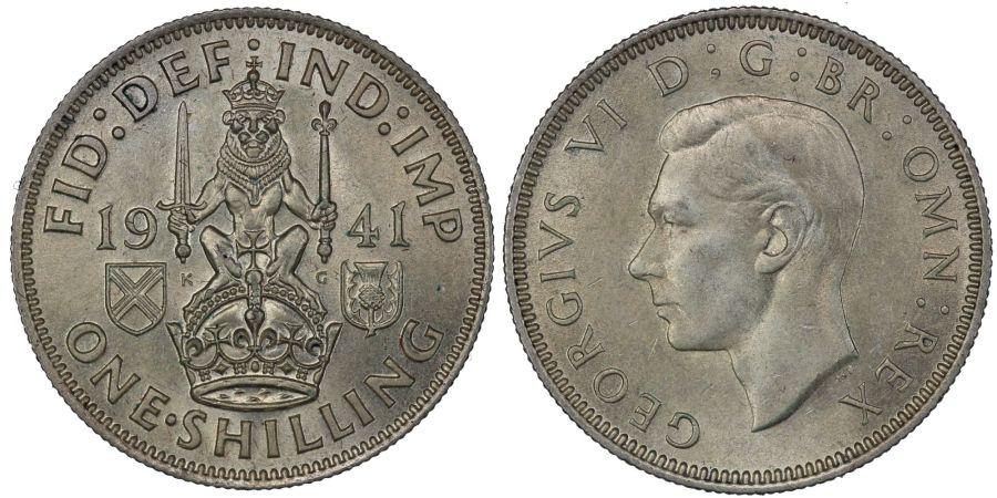 1941 'Scottish' Shilling, UNC or near so, ESC 1461, Bull 4161